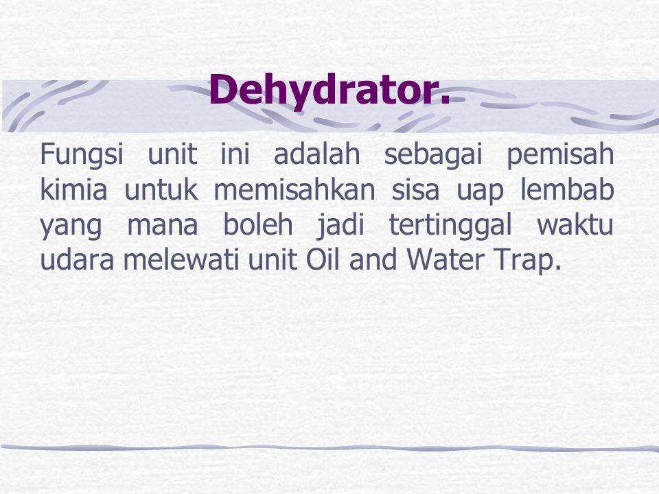 Oil and Water Trap Fungsi dari Oil and Water Trap adalah sebagai pemisah oli dan air dari udara yang masuk dari kompresor. Jumlah air persentasenya sa