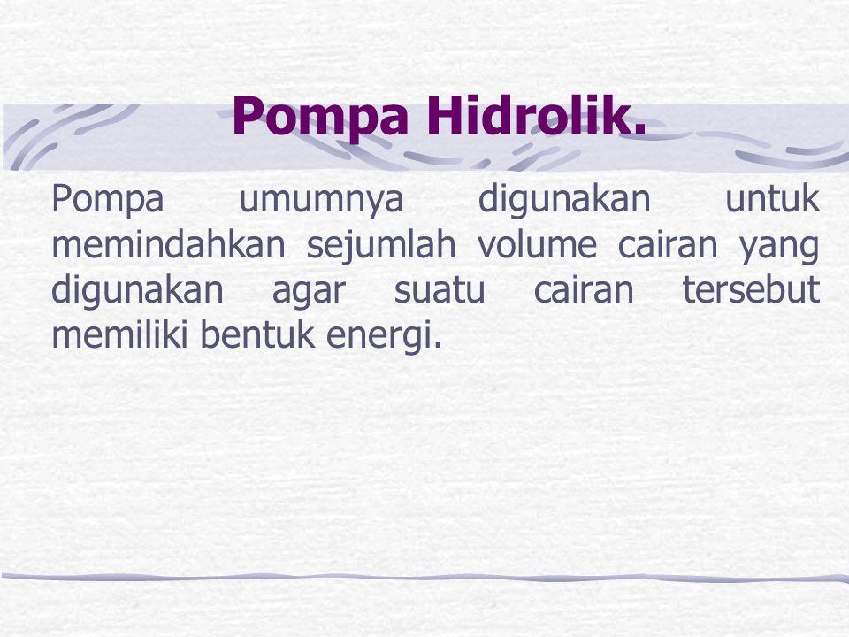 Motor Hidrolik Motor hidrolik berfungsi untuk mengubah energi tekanan cairan hidrolik menjadi energi mekanik.