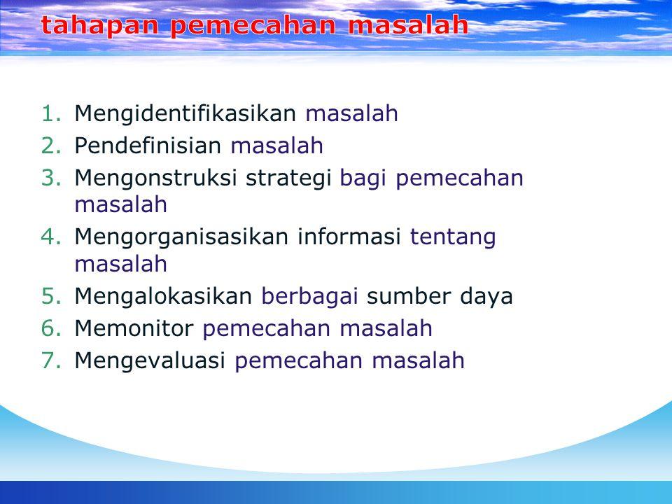 1.Mengidentifikasikan masalah 2.Pendefinisian masalah 3.Mengonstruksi strategi bagi pemecahan masalah 4.Mengorganisasikan informasi tentang masalah 5.