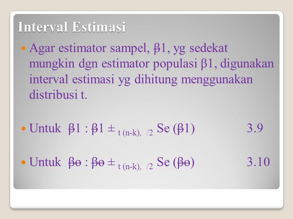 Interval Estimasi Agar estimator sampel, β1, yg sedekat mungkin dgn estimator populasi β1, digunakan interval estimasi yg dihitung menggunakan distribusi t.