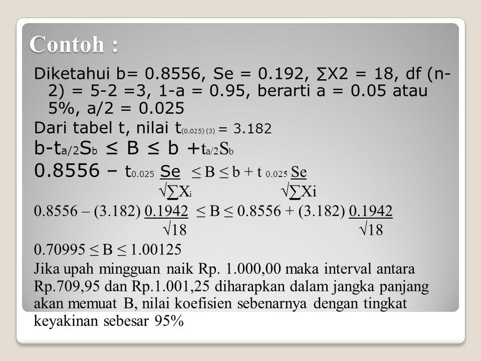 Contoh : Diketahui b= 0.8556, Se = 0.192, ∑X2 = 18, df (n- 2) = 5-2 =3, 1-a = 0.95, berarti a = 0.05 atau 5%, a/2 = 0.025 Dari tabel t, nilai t (0.025) (3) = 3.182 b-t a/2 S b ≤ B ≤ b + t a/2 S b 0.8556 – t 0.025 Se ≤ B ≤ b + t 0.025 Se √∑X i √∑Xi 0.8556 – (3.182) 0.1942 ≤ B ≤ 0.8556 + (3.182) 0.1942 √18 √18 0.70995 ≤ B ≤ 1.00125 Jika upah mingguan naik Rp.