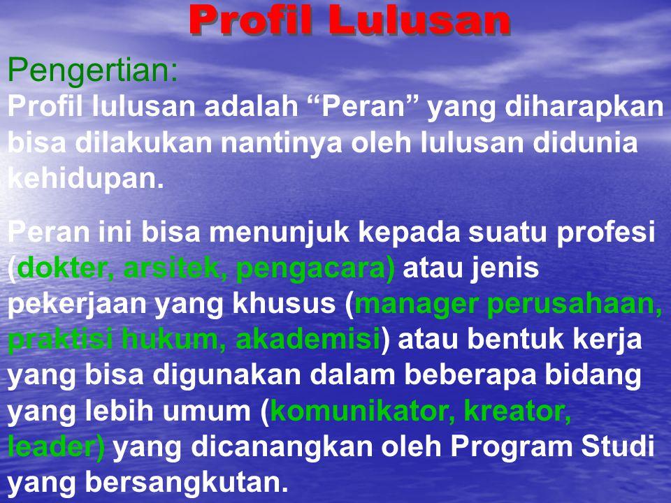 """Profil lulusan adalah """"Peran"""" yang diharapkan bisa dilakukan nantinya oleh lulusan didunia kehidupan. Peran ini bisa menunjuk kepada suatu profesi (do"""