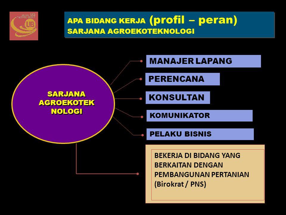 APA BIDANG KERJA (profil – peran) SARJANA AGROEKOTEKNOLOGI APA BIDANG KERJA (profil – peran) SARJANA AGROEKOTEKNOLOGI KONSULTAN PELAKU BISNIS PERENCAN