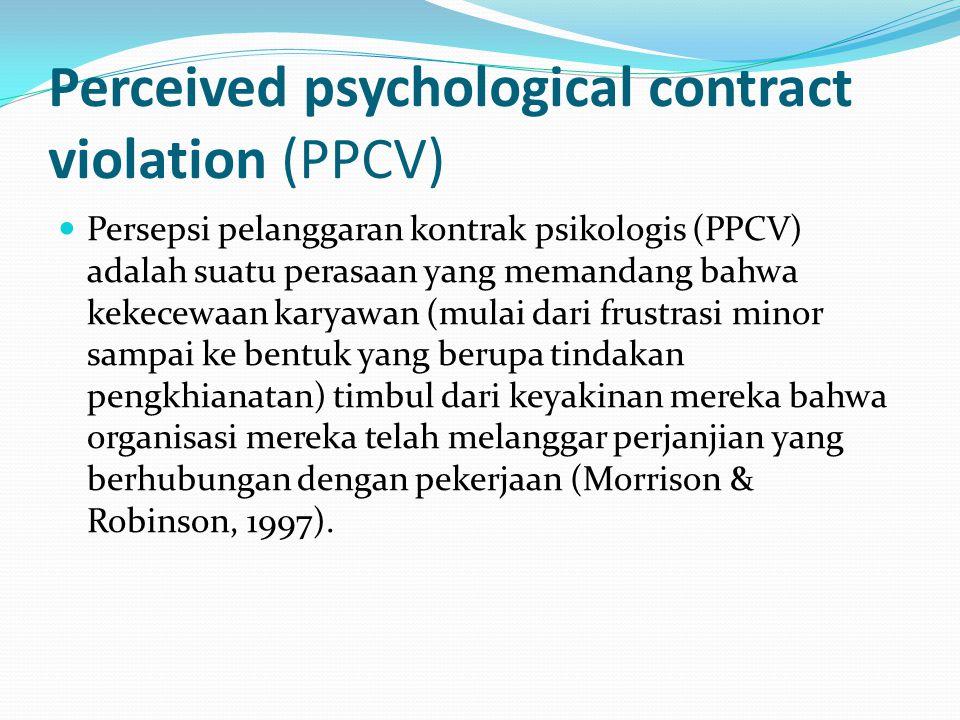 Perceived psychological contract violation (PPCV) Persepsi pelanggaran kontrak psikologis (PPCV) adalah suatu perasaan yang memandang bahwa kekecewaan