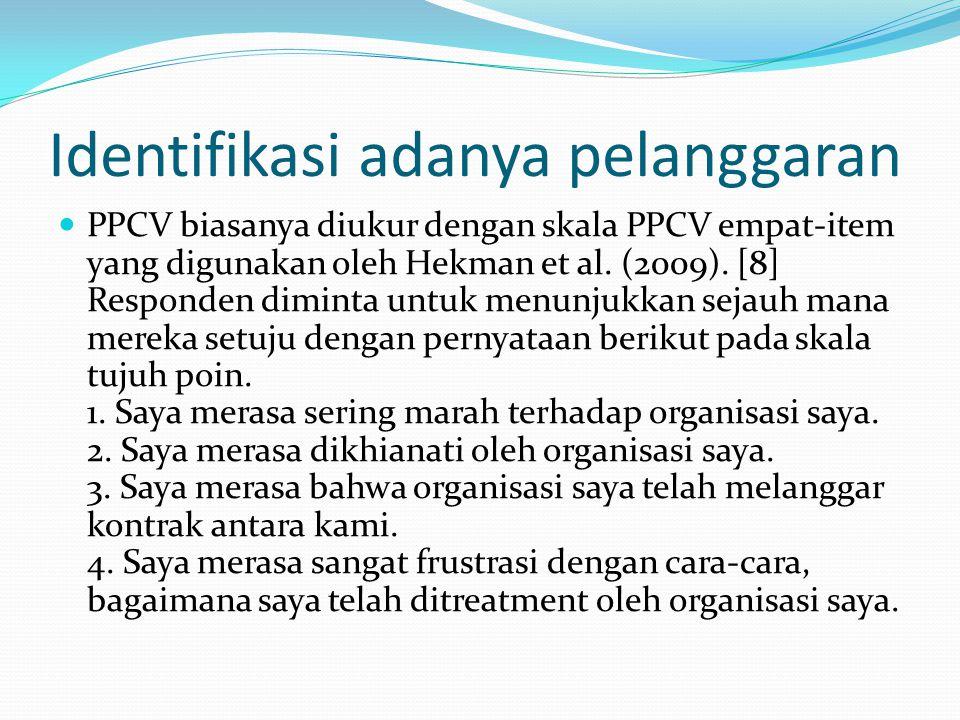 Identifikasi adanya pelanggaran PPCV biasanya diukur dengan skala PPCV empat-item yang digunakan oleh Hekman et al. (2009). [8] Responden diminta untu