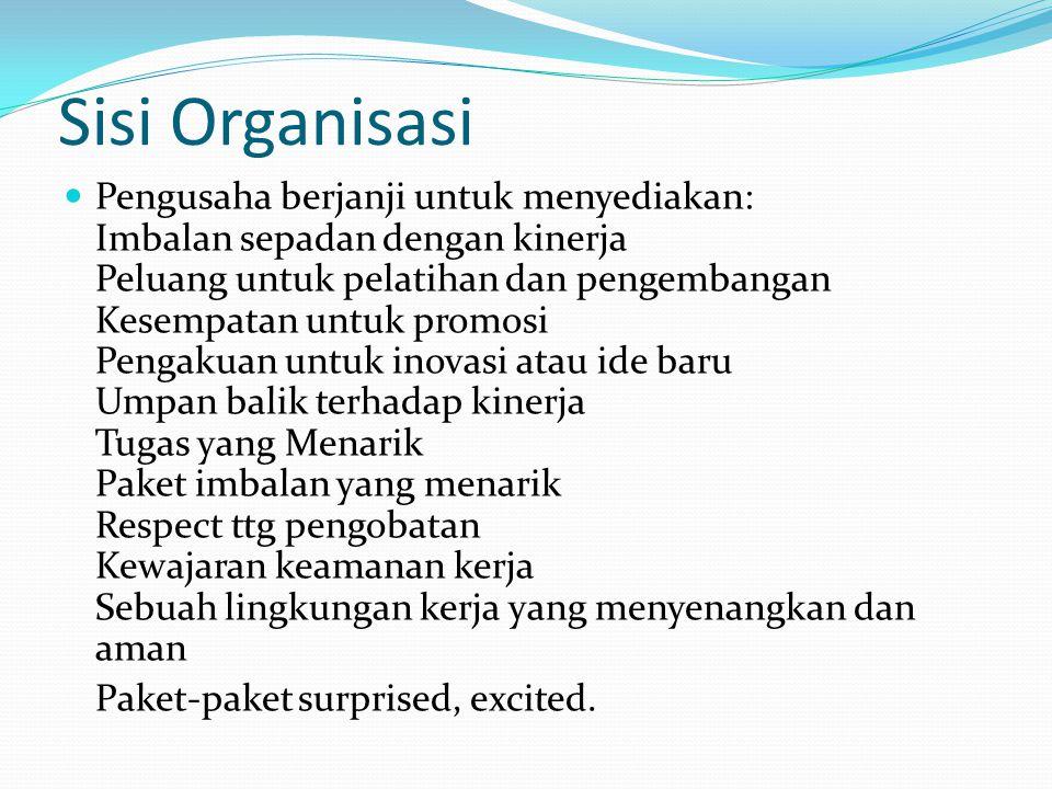 Sisi Organisasi Pengusaha berjanji untuk menyediakan: Imbalan sepadan dengan kinerja Peluang untuk pelatihan dan pengembangan Kesempatan untuk promosi