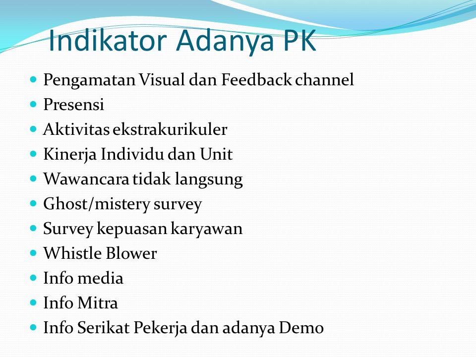 Indikator Adanya PK Pengamatan Visual dan Feedback channel Presensi Aktivitas ekstrakurikuler Kinerja Individu dan Unit Wawancara tidak langsung Ghost