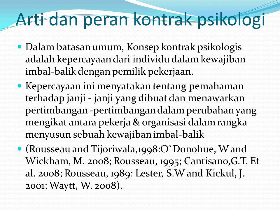 Arti dan peran kontrak psikologi Dalam batasan umum, Konsep kontrak psikologis adalah kepercayaan dari individu dalam kewajiban imbal-balik dengan pem