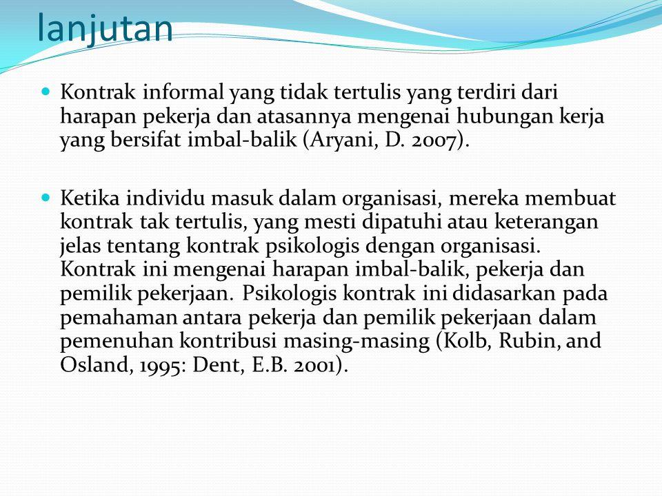 lanjutan Kontrak informal yang tidak tertulis yang terdiri dari harapan pekerja dan atasannya mengenai hubungan kerja yang bersifat imbal-balik (Aryan