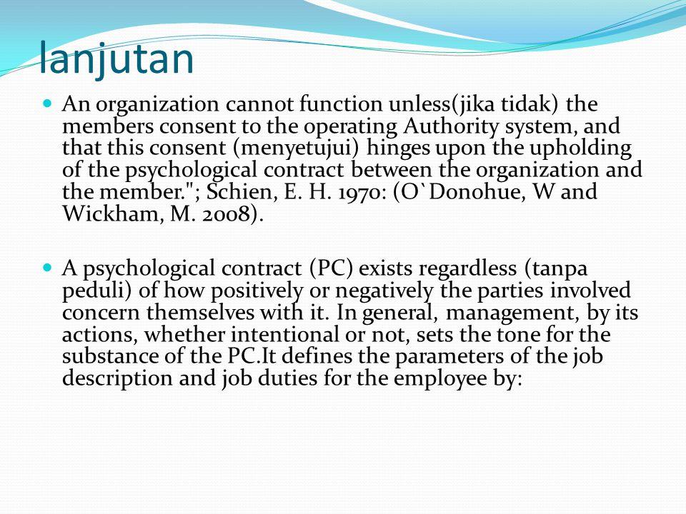 Tanggung Jawab Manajer Bertanggung jawab untuk memelihara Kontrak Kerja Psikologis akan senantiasa berjalan dengan baik sesuai keinginan para pihak.