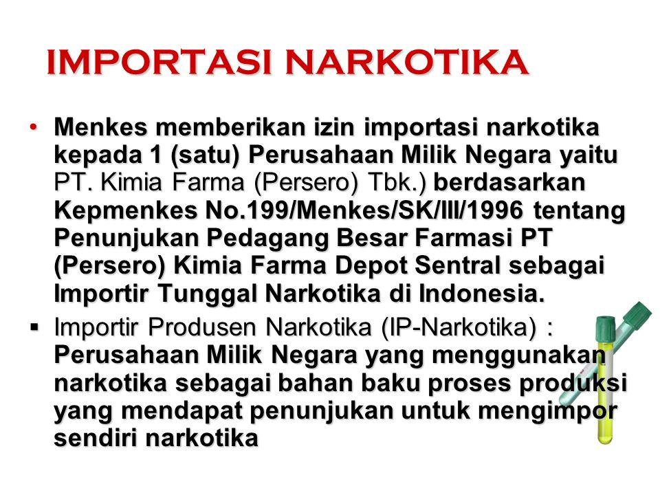Menkes memberikan izin importasi narkotika kepada 1 (satu) Perusahaan Milik Negara yaitu PT. Kimia Farma (Persero) Tbk.) berdasarkan Kepmenkes No.199/