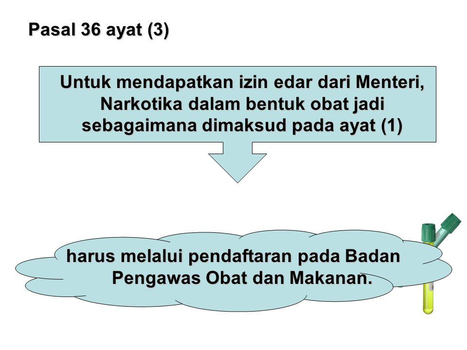 Pasal 36 ayat (3) Untuk mendapatkan izin edar dari Menteri, Narkotika dalam bentuk obat jadi sebagaimana dimaksud pada ayat (1) harus melalui pendafta