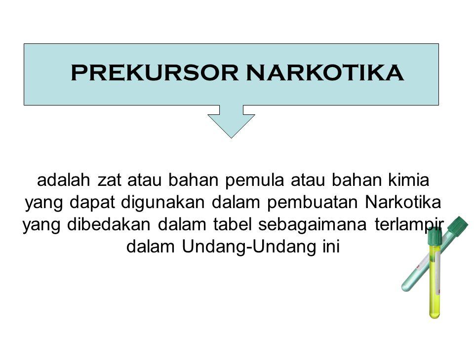 PREKURSOR NARKOTIKA adalah zat atau bahan pemula atau bahan kimia yang dapat digunakan dalam pembuatan Narkotika yang dibedakan dalam tabel sebagaiman
