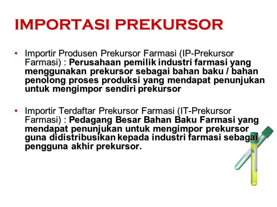 IMPORTASI PREKURSOR Importir Produsen Prekursor Farmasi (IP-Prekursor Farmasi) : Perusahaan pemilik industri farmasi yang menggunakan prekursor sebaga