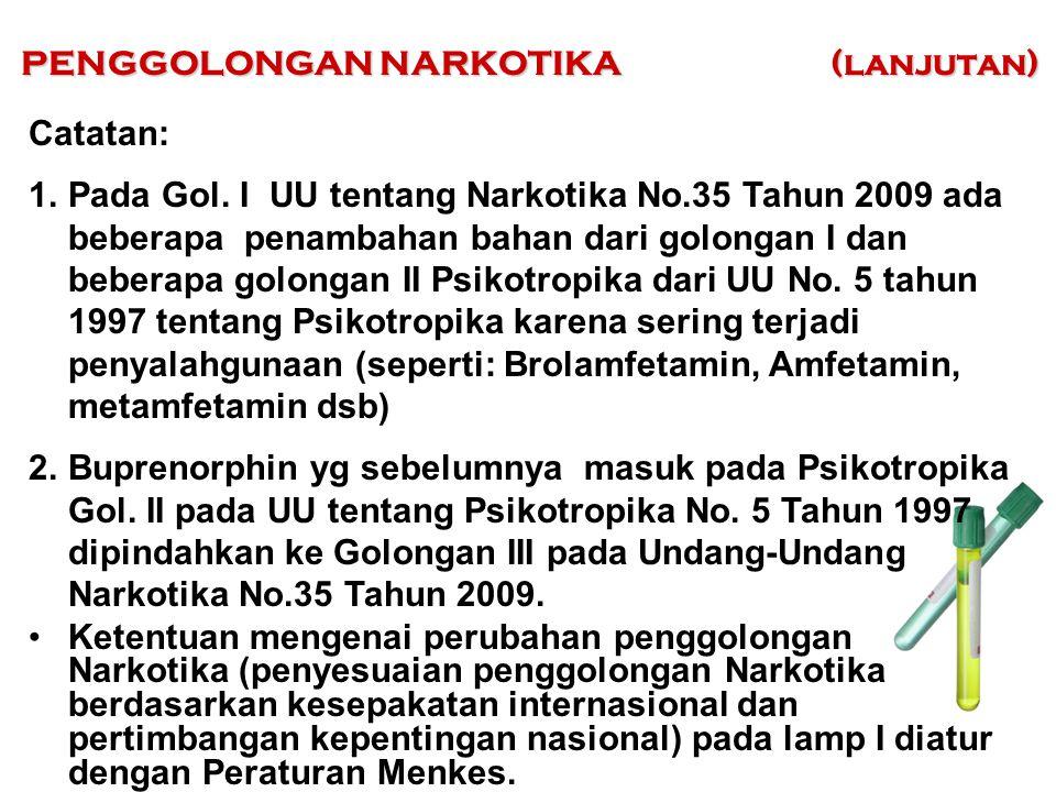 Catatan: 1.Pada Gol. I UU tentang Narkotika No.35 Tahun 2009 ada beberapa penambahan bahan dari golongan I dan beberapa golongan II Psikotropika dari