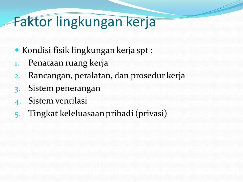 Faktor lingkungan kerja Kondisi fisik lingkungan kerja spt : 1.