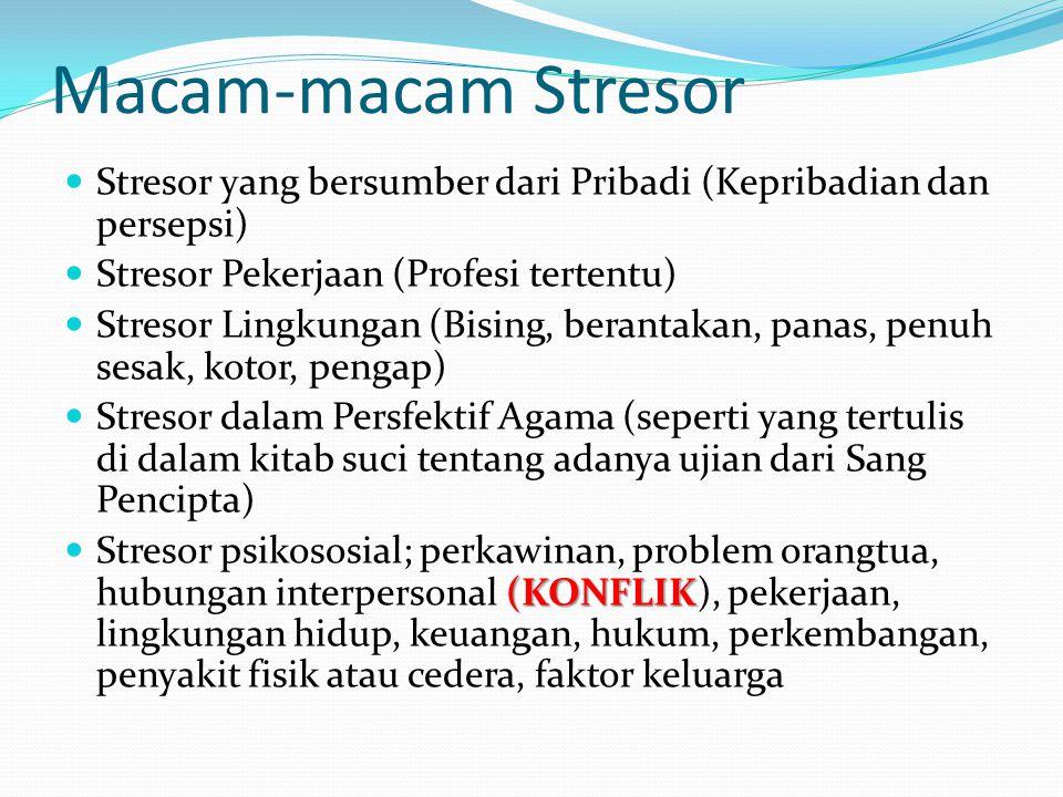 Macam-macam Stresor Stresor yang bersumber dari Pribadi (Kepribadian dan persepsi) Stresor Pekerjaan (Profesi tertentu) Stresor Lingkungan (Bising, berantakan, panas, penuh sesak, kotor, pengap) Stresor dalam Persfektif Agama (seperti yang tertulis di dalam kitab suci tentang adanya ujian dari Sang Pencipta) (KONFLIK Stresor psikososial; perkawinan, problem orangtua, hubungan interpersonal (KONFLIK), pekerjaan, lingkungan hidup, keuangan, hukum, perkembangan, penyakit fisik atau cedera, faktor keluarga