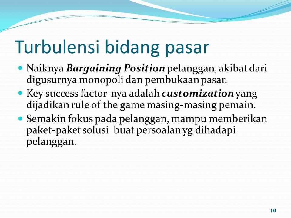 Turbulensi bidang pasar Naiknya Bargaining Position pelanggan, akibat dari digusurnya monopoli dan pembukaan pasar. Key success factor-nya adalah cust