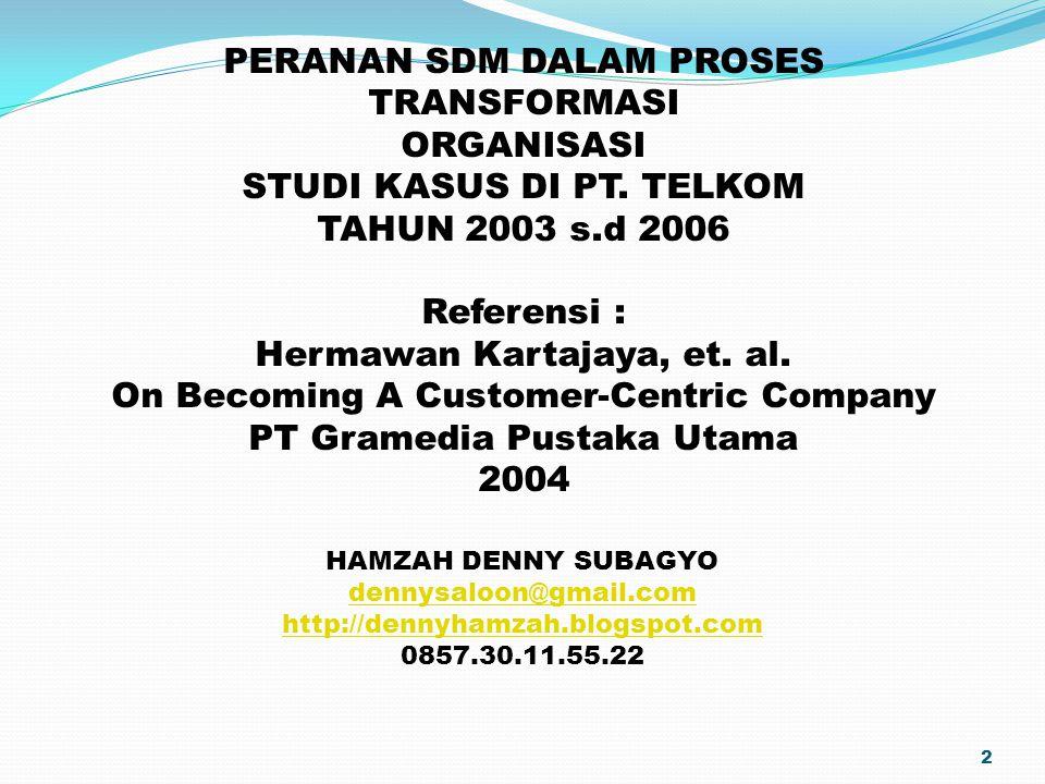 2 PERANAN SDM DALAM PROSES TRANSFORMASI ORGANISASI STUDI KASUS DI PT. TELKOM TAHUN 2003 s.d 2006 Referensi : Hermawan Kartajaya, et. al. On Becoming A