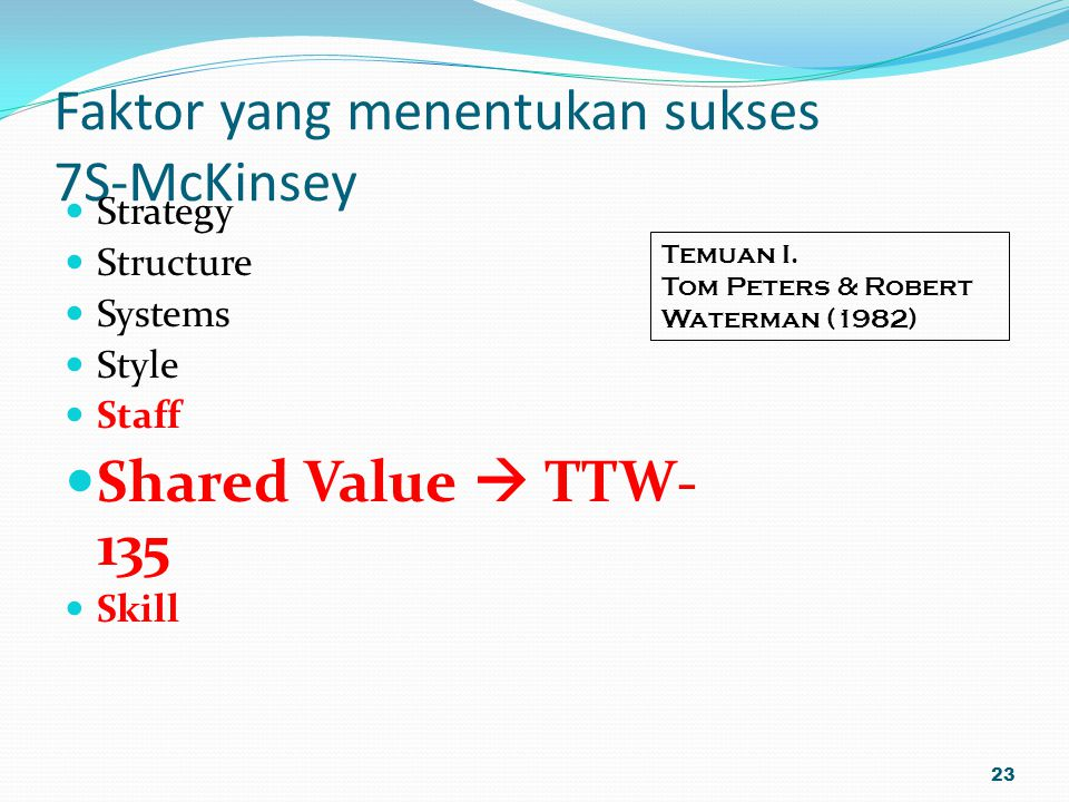 Faktor yang menentukan sukses 7S-McKinsey Strategy Structure Systems Style Staff Shared Value  TTW- 135 Skill 23 Temuan I. Tom Peters & Robert Waterm