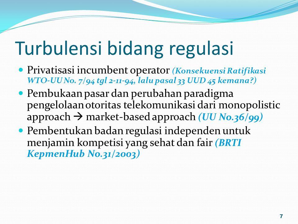 Turbulensi bidang regulasi Privatisasi incumbent operator (Konsekuensi Ratifikasi WTO-UU No. 7/94 tgl 2-11-94, lalu pasal 33 UUD 45 kemana?) Pembukaan