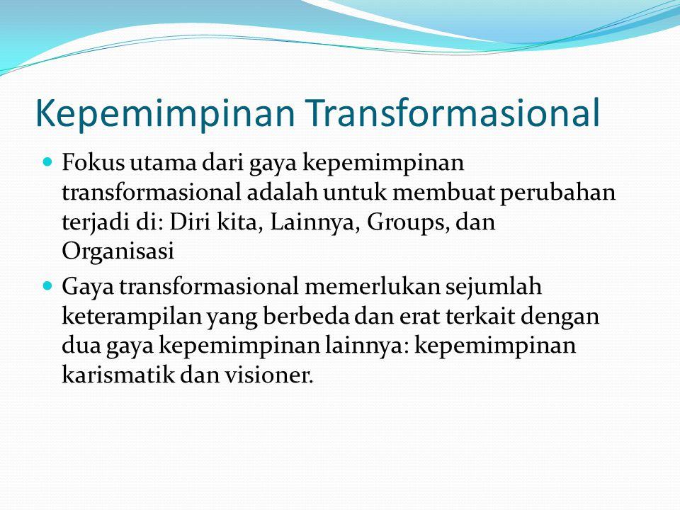Kepemimpinan Transformasional Fokus utama dari gaya kepemimpinan transformasional adalah untuk membuat perubahan terjadi di: Diri kita, Lainnya, Group