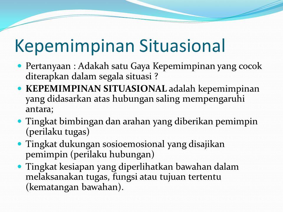 Kepemimpinan Situasional Pertanyaan : Adakah satu Gaya Kepemimpinan yang cocok diterapkan dalam segala situasi ? KEPEMIMPINAN SITUASIONAL adalah kepem