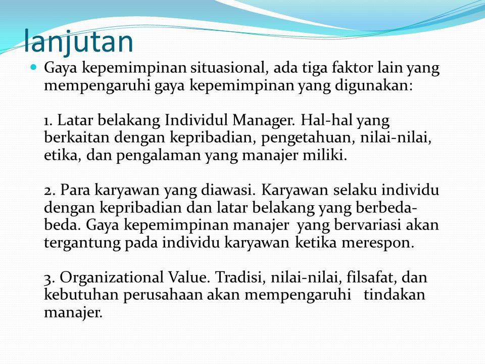 lanjutan Gaya kepemimpinan situasional, ada tiga faktor lain yang mempengaruhi gaya kepemimpinan yang digunakan: 1. Latar belakang Individul Manager.
