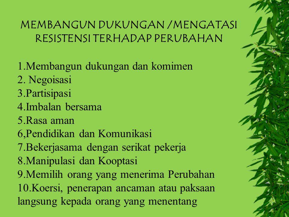 MEMBANGUN DUKUNGAN /MENGATASI RESISTENSI TERHADAP PERUBAHAN 1.Membangun dukungan dan komimen 2. Negoisasi 3.Partisipasi 4.Imbalan bersama 5.Rasa aman