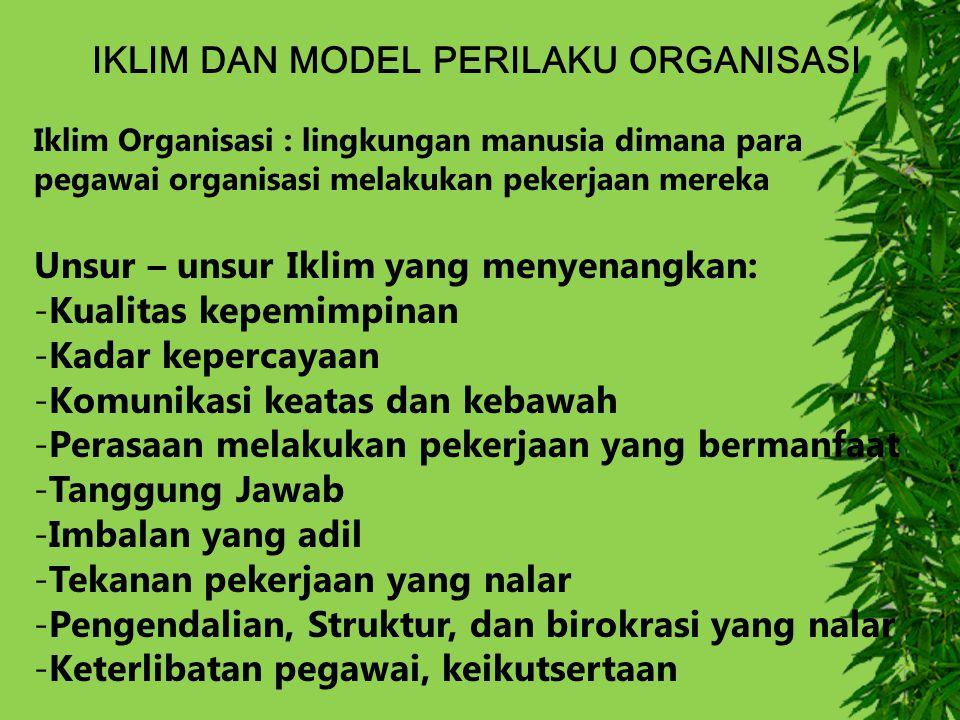 IKLIM DAN MODEL PERILAKU ORGANISASI Iklim Organisasi : lingkungan manusia dimana para pegawai organisasi melakukan pekerjaan mereka Unsur – unsur Ikli