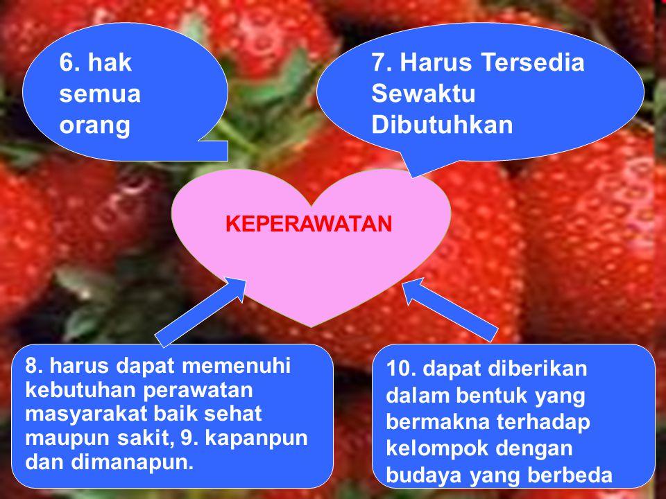 KEPERAWATAN 6. hak semua orang 7. Harus Tersedia Sewaktu Dibutuhkan 8. harus dapat memenuhi kebutuhan perawatan masyarakat baik sehat maupun sakit, 9.