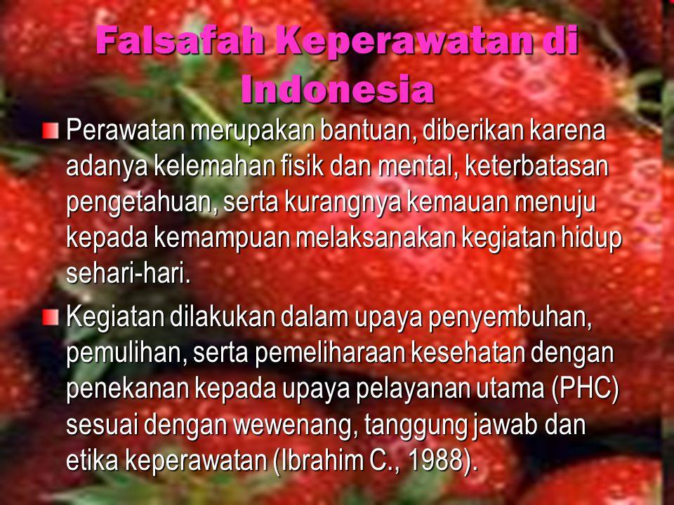 Falsafah Keperawatan di Indonesia Perawatan merupakan bantuan, diberikan karena adanya kelemahan fisik dan mental, keterbatasan pengetahuan, serta kur