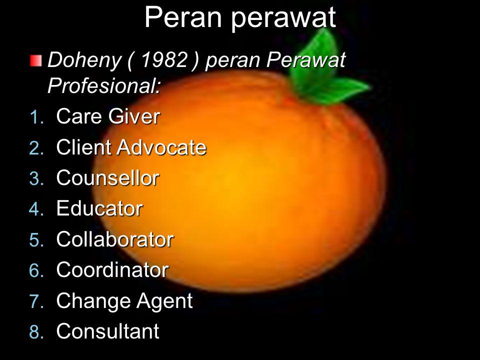 Peran perawat Doheny ( 1982 ) peran Perawat Profesional: 1. Care Giver 2. Client Advocate 3. Counsellor 4. Educator 5. Collaborator 6. Coordinator 7.