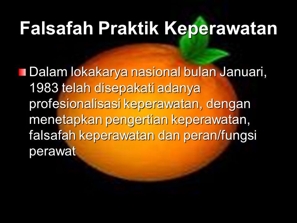 Falsafah Praktik Keperawatan Dalam lokakarya nasional bulan Januari, 1983 telah disepakati adanya profesionalisasi keperawatan, dengan menetapkan peng