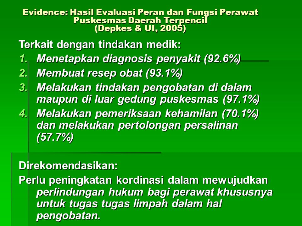Evidence: Hasil Evaluasi Peran dan Fungsi Perawat Puskesmas Daerah Terpencil (Depkes & UI, 2005) Terkait dengan tindakan medik: 1.Menetapkan diagnosis penyakit (92.6%) 2.Membuat resep obat (93.1%) 3.Melakukan tindakan pengobatan di dalam maupun di luar gedung puskesmas (97.1%) 4.Melakukan pemeriksaan kehamilan (70.1%) dan melakukan pertolongan persalinan (57.7%) Direkomendasikan: Perlu peningkatan kordinasi dalam mewujudkan perlindungan hukum bagi perawat khususnya untuk tugas tugas limpah dalam hal pengobatan.