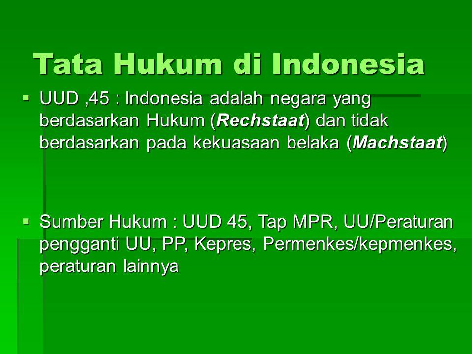 Tata Hukum di Indonesia  UUD,45 : Indonesia adalah negara yang berdasarkan Hukum (Rechstaat) dan tidak berdasarkan pada kekuasaan belaka (Machstaat)  Sumber Hukum : UUD 45, Tap MPR, UU/Peraturan pengganti UU, PP, Kepres, Permenkes/kepmenkes, peraturan lainnya