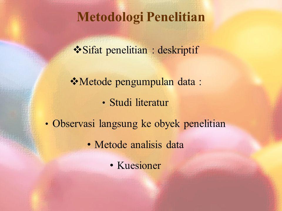 Metodologi Penelitian  Sifat penelitian : deskriptif  Metode pengumpulan data : Studi literatur Observasi langsung ke obyek penelitian Metode analisis data Kuesioner