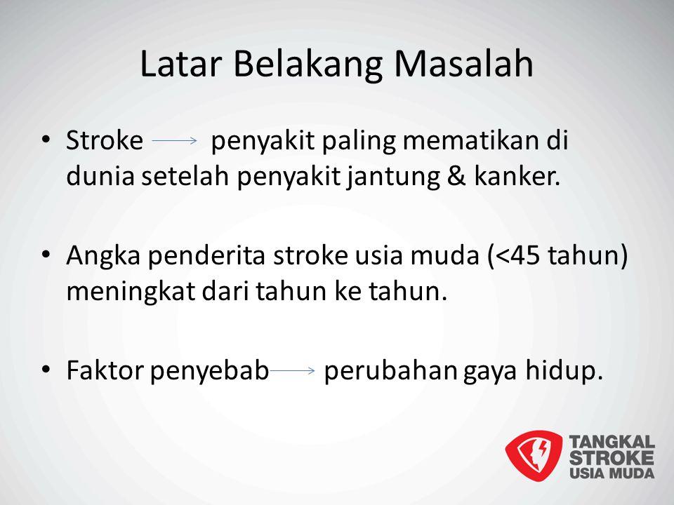 Latar Belakang Masalah Stroke penyakit paling mematikan di dunia setelah penyakit jantung & kanker. Angka penderita stroke usia muda (<45 tahun) menin