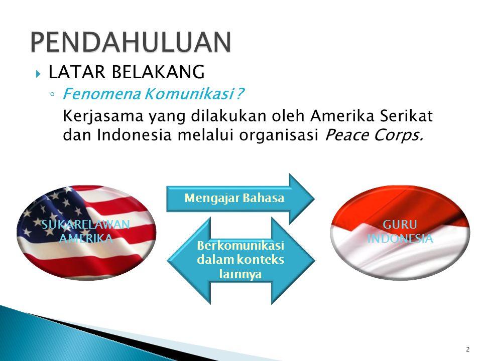  LATAR BELAKANG ◦ Fenomena Komunikasi ? Kerjasama yang dilakukan oleh Amerika Serikat dan Indonesia melalui organisasi Peace Corps. 2 SUKARELAWAN AME
