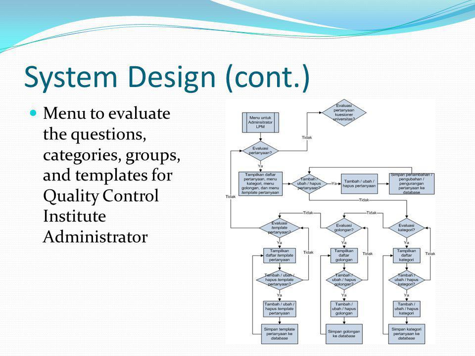 System Design (cont.) Menu to evaluate the questions, categories, groups, and templates for Quality Control Institute Administrator