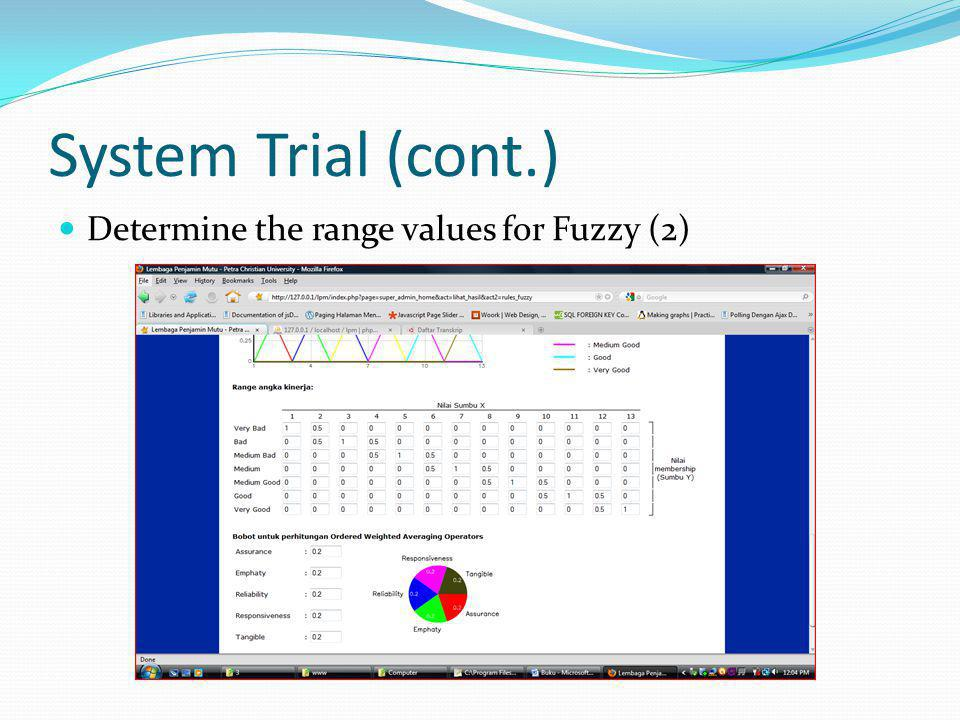 System Trial (cont.) Determine the range values for Fuzzy (2)