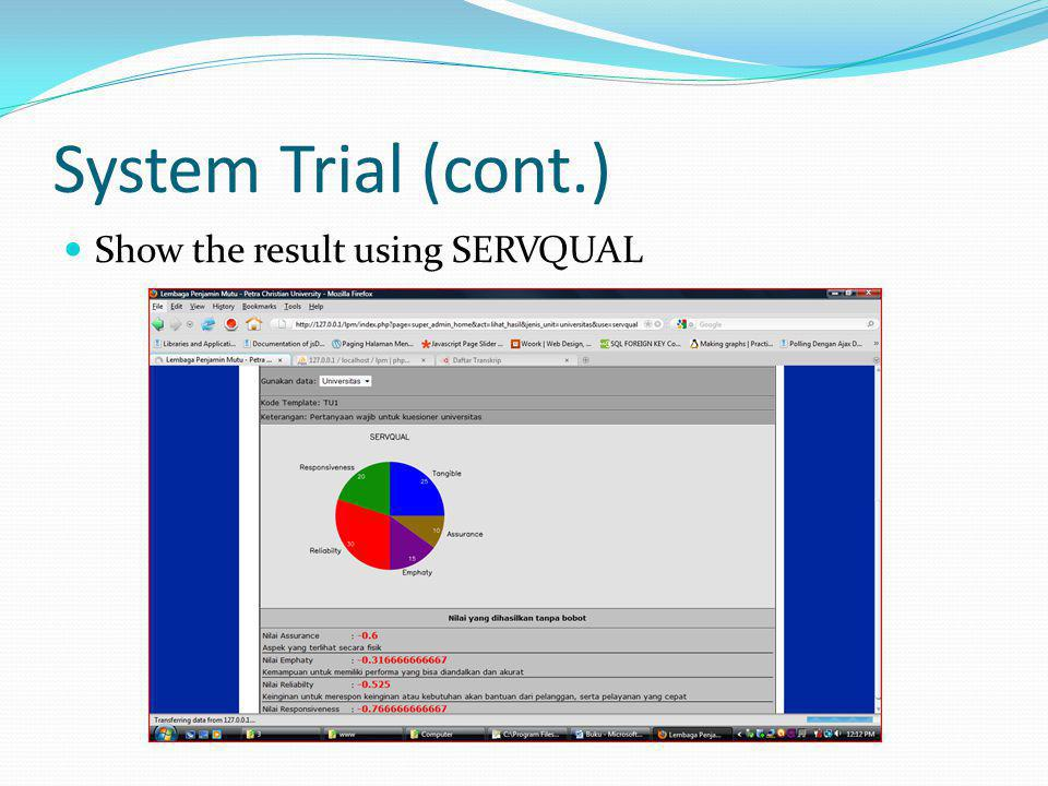 System Trial (cont.) Show the result using SERVQUAL