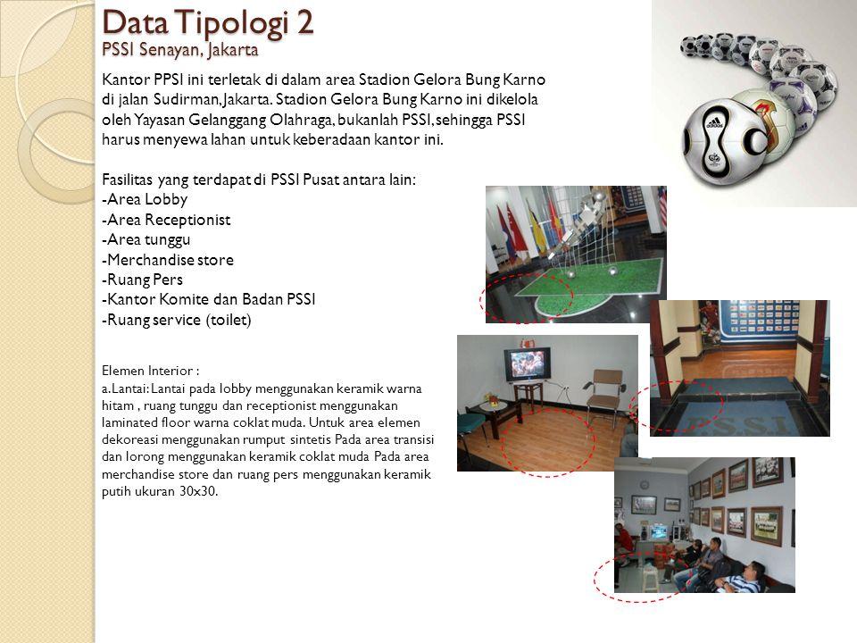 Data Tipologi 2 PSSI Senayan, Jakarta Kantor PPSI ini terletak di dalam area Stadion Gelora Bung Karno di jalan Sudirman, Jakarta. Stadion Gelora Bung