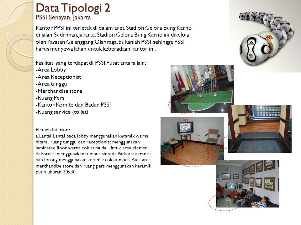 Data Tipologi 2 PSSI Senayan, Jakarta Kantor PPSI ini terletak di dalam area Stadion Gelora Bung Karno di jalan Sudirman, Jakarta.
