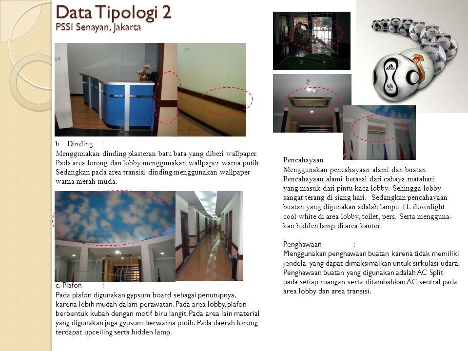 Data Tipologi 2 PSSI Senayan, Jakarta b.Dinding: Menggunakan dinding plasteran batu bata yang diberi wallpaper. Pada area lorong dan lobby menggunakan