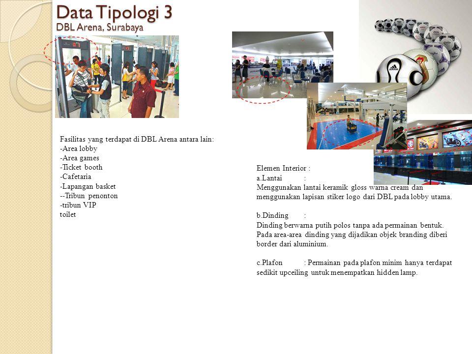 Data Tipologi 3 DBL Arena, Surabaya Elemen Interior : a.Lantai: Menggunakan lantai keramik gloss warna cream dan menggunakan lapisan stiker logo dari