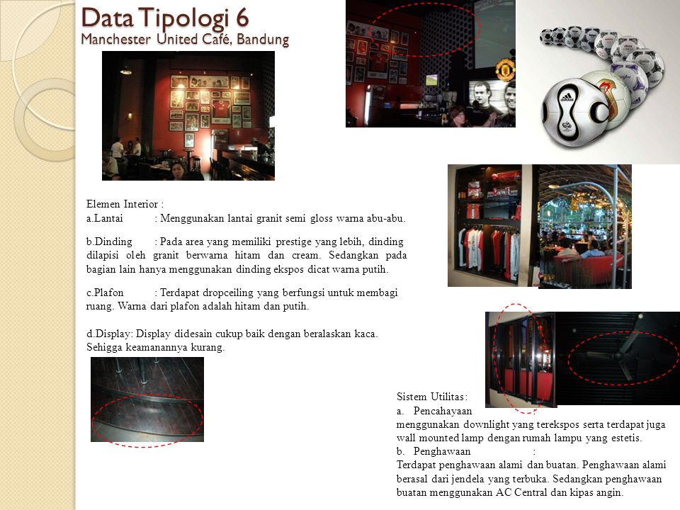 Data Tipologi 6 Manchester United Café, Bandung Elemen Interior : a.Lantai: Menggunakan lantai granit semi gloss warna abu-abu. b.Dinding: Pada area y