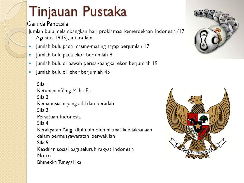 Jumlah bulu melambangkan hari proklamasi kemerdekaan Indonesia (17 Agustus 1945), antara lain: Jumlah bulu pada masing-masing sayap berjumlah 17 Jumlah bulu pada ekor berjumlah 8 Jumlah bulu di bawah perisai/pangkal ekor berjumlah 19 Jumlah bulu di leher berjumlah 45 Tinjauan Pustaka Garuda Pancasila Sila 1 Ketuhanan Yang Maha Esa Sila 2 Kemanusiaan yang adil dan beradab Sila 3 Persatuan Indonesia Sila 4 Kerakyatan Yang dipimpin oleh hikmat kebijaksanaan dalam permusyawaratan perwakilan Sila 5 Keadilan sosial bagi seluruh rakyat Indonesia Motto Bhinekka Tunggal Ika