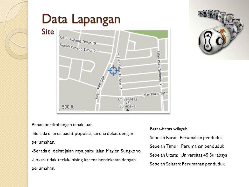 Data Lapangan Site Bahan pertimbangan tapak luar: -Berada di area padat populasi, karena dekat dengan perumahan.