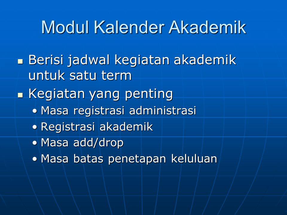 Modul Kalender Akademik Berisi jadwal kegiatan akademik untuk satu term Berisi jadwal kegiatan akademik untuk satu term Kegiatan yang penting Kegiatan